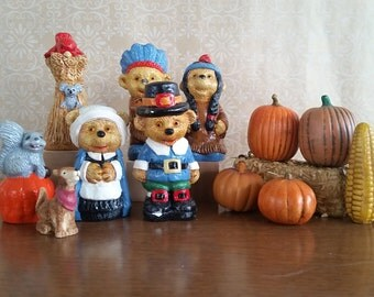 Sweet Vintage Thanksgiving Decor Figurines, Wee Crafts Access Unlimited First Gathering