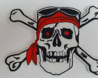 Large Skull and Crossbones Pirate Iron on Patch