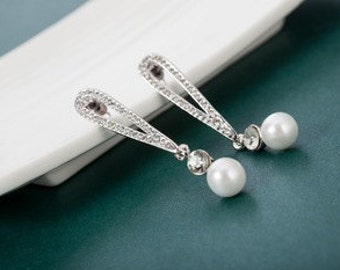 Silver, Diamante & Pearl Chandelier Earrings