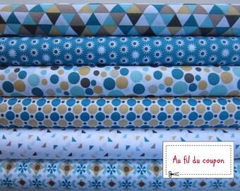 """Set of 6 cut quilt 100% cotton fabric 50 x 50 cm """"Oil/ochre"""""""