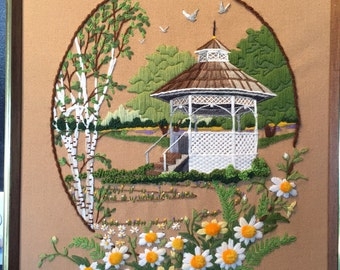 Vintage Framed 3D Needlepoint Gazebo with Birch Trees and Daises