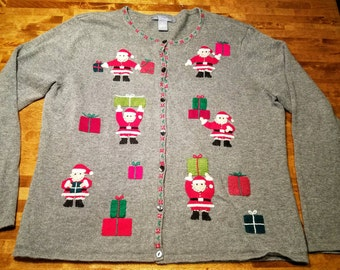 Vintage Hand Knit Grey Santa holding Presents CUTE minimalistic Christmas Sweater!