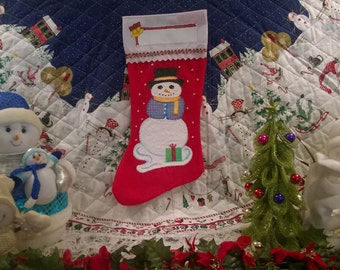 Hand Painted Christmas Stocking // Large // Frosty //Snowman w/ Top Hat & Vest // Secret Santa // Grandma Gift // FREE SHIPPING