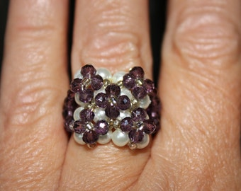 Maxi ring with pearls, gemstones and crystals