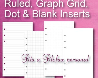 Basic Personal Planner Refill, Personal Inserts, Dot, Grid Graph, Filofax Personal, Printable