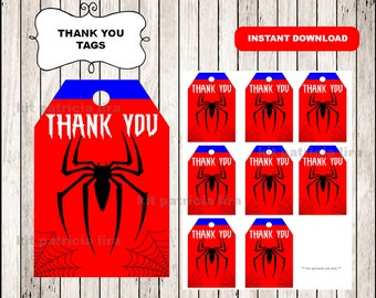 Spiderman logo Thank you Tags instant download , Spiderman Thank you Tags, Printable Spiderman tags