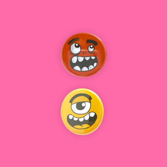 Goofy Monster Face Pinback Buttons