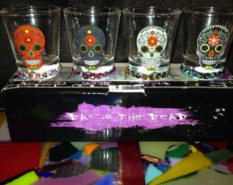 4 Sugar Skull Shot Glasses