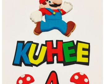 Super MarioTheme Name & Number Fondant | Fondant Super mario | Birthday | Birthday Cake Topper | Super Mario Cake Toppers