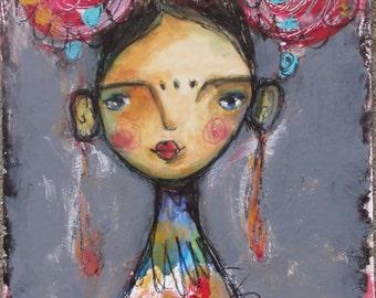 Frida 47b, original paintings, mixed media portrait, acrylic painting, mixed media