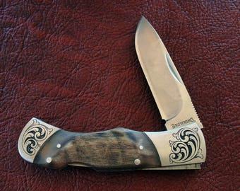 Hand Engraved Custom Pocket Knife - ram horn handle, stainless steel bolsters- fantastic gift!
