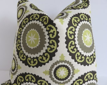 Olive Green Suzani Pillow Cover, Green Ivory Pillow Cover, Suzani Pillow, Green suzani Pillow, Pillow Cover, Accent Pillow