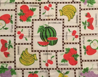Vintage 1960s Tropical Fruit Medley Tablecloth Melon, Apples, Grapes, Pears, Cherries, Bananas