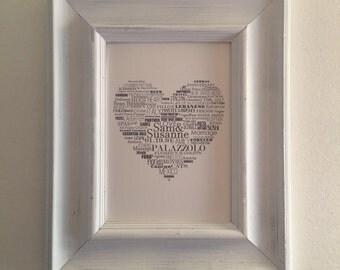 Custom Heart Typography Piece