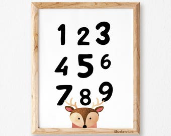 Numbers wall art / Numbers print /SM /Nursery art / Kids decor / Nursery print boy / Kids print, Children print, Kids wall art, Playroom art