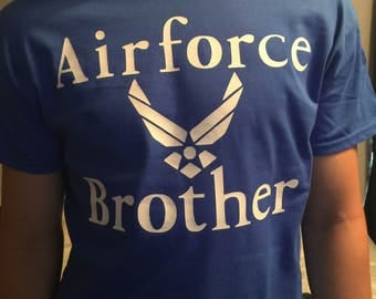Airforce Vinyl Letter T Shirt One Sided. Dad, Brother, Uncle, Granddad, Papa