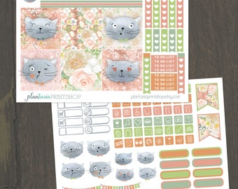 Soft Kitty, Mini Happy Planner, 2 Page Planner Sticker Kit, Weekly Kit, Checklists, Icons, Cat Stickers, Mini Stickers, BuJo, MAMBI, Pastel