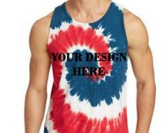 Custom TieDye Tank, Custom Designed, Personalized, TieDye, Patriotic, Hippie, Summer, Retro, Custom, Create Your Own