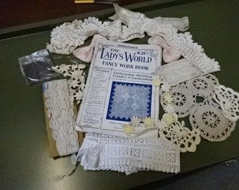 Antique/ Vintage The Lady's World Fancy Work Book/Magazine/ With Vintage Embroidery Lace Piece's// 1912