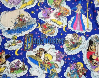"Vintage 90's THE PAGEMASTER Bedding Material, Project Fabric for Clothing, Pillows, Aprons 76"" x 89"" - Macaulay Culkin Movie RARE!!"