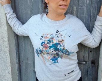 "Women's Sweatshirt Artused Design ""The Lukewarm"" 100% Organic - Paint & Print in France -"