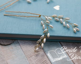 1pcs Bridal hair pins, Pearl Hair pins, gold hair pins with pearls