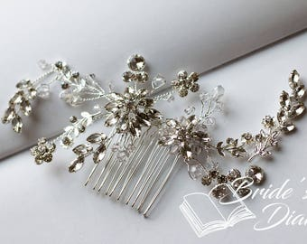 Wedding hair jewelry, transparent pearls and rhinestones bridal hair comb
