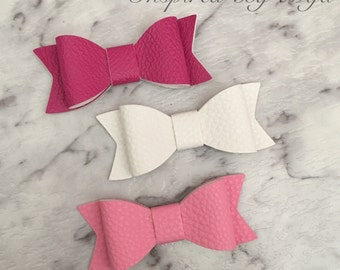 3x Girls Baby Faux Leather Hair Bow Clips Hot Pink White Pink