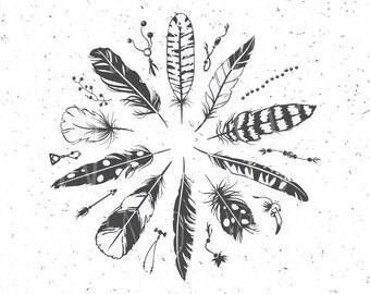 Boho Feathers SVG Boho Feathers SVG file Boho svg Feather SVG Cut File Tribal Feathers svg dxf eps files for Silhouette studio svg clipart