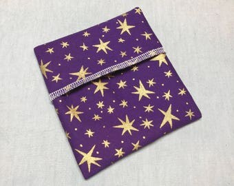 Cloth Pad Wrapper - Mini Wet Bag - PUL Pad Wrapper - Gold Star Pad Wrapper