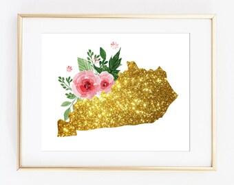 Kentucky Gold Art, Kentucky bling, kentucky poster, kentucky girls art, printable state art, printable kentucky, KY state art, KY download