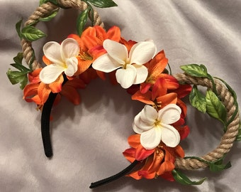 Orange Flower Tiki Mickey Ears