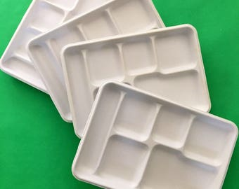 Divided Food Trays - Set of 10, White fiber paper plates, Party plates, Cafeteria trays, 6 compartment, Disposable Food Tray, Compostable