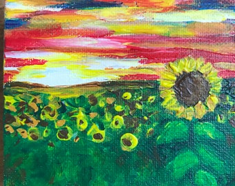 Sunflower Painting, Acrylic Painting, 4x4, Field of Flowers, Sunset