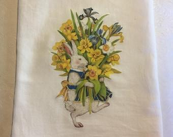 Bunny with Daffodils flour sack towel