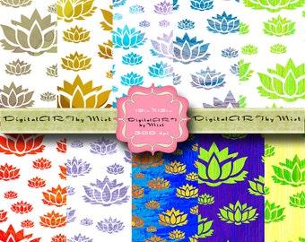 Lotus Digital Scrapbook paper | India scrapbook paper - Hindu digital paper - Scrapbooking Indian Hindu symbol India Lotus diy
