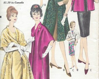 1961 Vintage VOGUE Sewing Pattern B31-32 COAT & STOLE (1048)