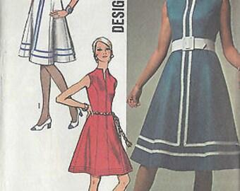 1970 Vintage Sewing Pattern B38 DRESS (R696) Simplicity 9147