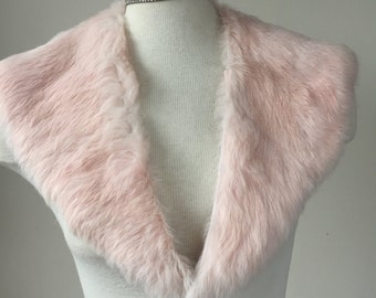 Pink fur collar, rabbit fur