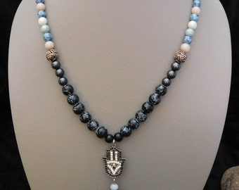 "28"" Black Glass Pearl, Mulit-Colored Agate Urban Beaded Necklace with Sterling Silver Plated Beads and Hamsa Hand Pendant"