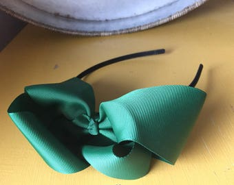 large green bow headband. Girls headband