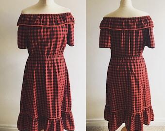 Vintage Red Check Cotton Gypsy Dress - UK Size 12/US Size 8