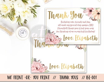 First Birthday Thank You Card, 1st Birthday Thank You, Floral Thank You, Gold Thank You, Gold Floral Thank You, Thank You Note