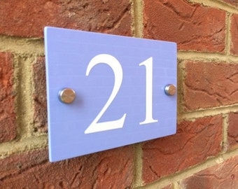Door number plaque pastel colours blue/purple/yellow/pink/green