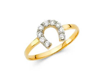 14K Solid Yellow Gold Cubic Zirconia Horseshoe Ring - Good Luck Lucky Finger Band