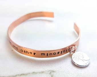 Advocate bracelet / I speak for the trees and other minorities / tree of life charm / Personalized gift / Hand stamped bracelet