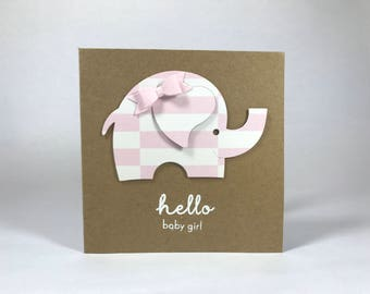 Hello Baby Girl Elephant Card - Pink Bow - Baby Shower - Expecting - New Baby - Welcome Baby  - Congratulations