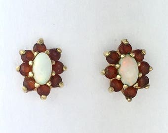 Vintage Solid 9CT Gold Opal and Garnet Cluster Earrings