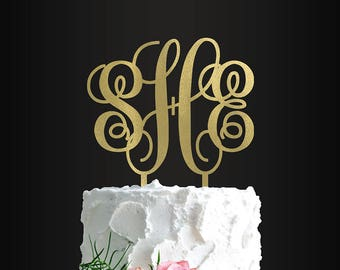 Wedding Cake Topper, Custom Cake Topper, Monogrammed, Monogram, 3 Initials, Cake Topper, Cake Decoration, Wedding, Engagement, Anniversary