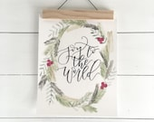 Handlettered and Watercolored Joy to the World Print
